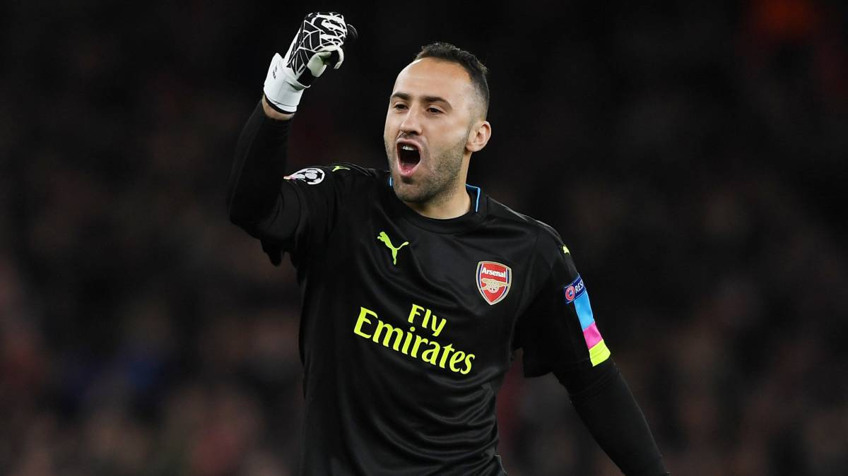 david ospina celebra en la champions league con el arsenal