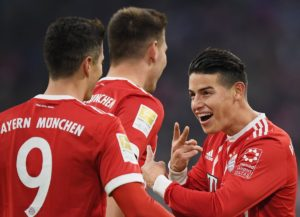 James con el Bayern y Lewandowski